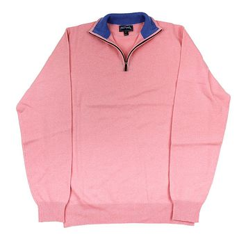 Quarter Zip Cashmere Sweater in Pink by Michael's - FINAL SALE