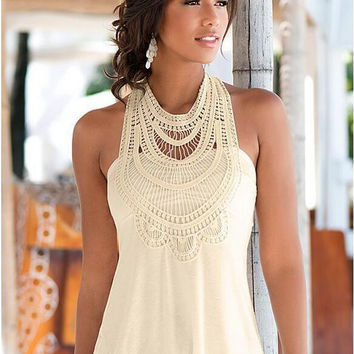 Halter Crochet Lace Sleeveless Shirt