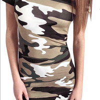 Camouflage Army Green Slim Bodycon Mini Dress
