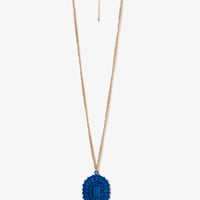 Lacquered Rhinestoned Medallion Necklace