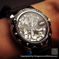 Steampunk Men's Black Sports Wristwatch - Anniversary Gifts for Men (WAT0151)