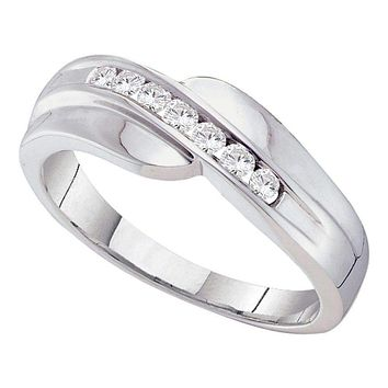14kt White Gold Mens Round Channel-set Diamond Curved Wedding Band Ring 1/4 Cttw - FREE Shipping (US/CAN)