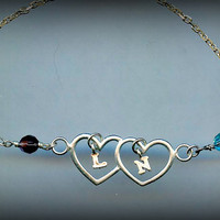 Joined Hearts Bracelet Sterling Silver / Couples Initials & Birthstones Beads Double Heart Link Personalized Best Friend / Sisters / Mother