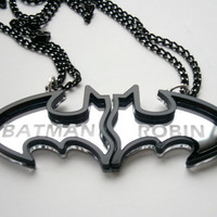 Best Friends Batman Necklaces -  Friendship Necklaces - Engraved Batman and Robin -  Laser Cut Acrylic- Sale 25 %