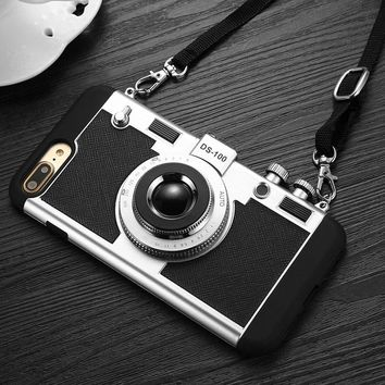 Fashion 3D Camera Design Case For iphone 8 7 6 6s Plus SE 5s Cover 2 in 1 Phone Cases Hard PC + Soft Silicone Shell With Lanyard