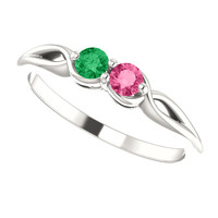 2 Stone Custom Birthstone Ring in Sterling Silver or 14k White Gold