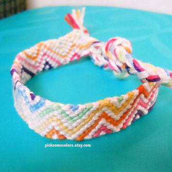 Pale Ombre Zig Zag Friendship Bracelet - Periwinkle, Teal, Light Purple - Ready to Ship