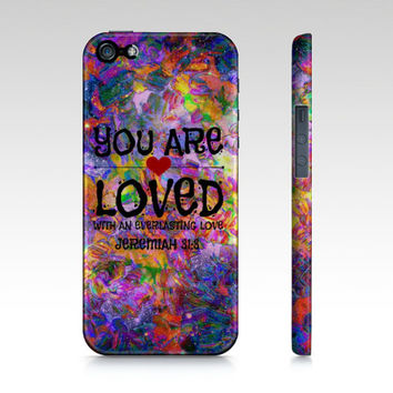 YOU ARE LOVED God Christian Jesus Scripture Art iPhone 4 5 5s 5c 6 Case Purple Heart Floral Abstract Jeremiah Faith Belief Religious Bible