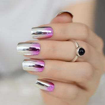 24Pcs Metallic French Nail Silver Mirror Square Full Nail Tips Purple Full Wrap Gradient Fake Nail Lady Wear Manicure Tools Z929
