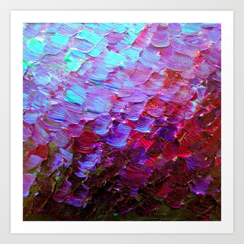 MERMAID SCALES - Colorful Ombre Abstract Acrylic Impasto Painting Violet Purple Plum Ocean Waves Art Art Print by EbiEmporium