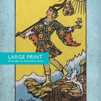 Tarot Print The Fool Retro Illustration Art Rider Print Vintage Giclee on Cotton Canvas and Satin Photo Paper