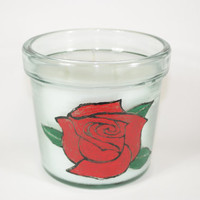 Flower Pot Candle, Handpainted Rose Candle, 3 Wick Highly Scented Fresh Cut Roses, Mother's Day Gift