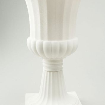 "Plastic Urn Planter in White - 23"" Tall"