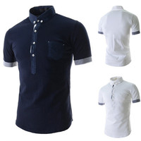Stripe Cuff Slim Fit Polo Shirt