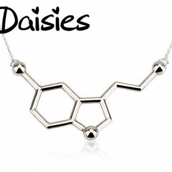 Daisies 10pcs/lot Jewelry for Lovers' Tiny Accessories Serotonin Molecule Necklace Science Charm Chemistry Personalized Gifts