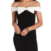 BOW-FRONT TEXTURED OFF-THE-SHOULDER DRESS