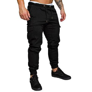 HEFLASHOR New Men Pants Hip Hop Harem Joggers Fashion Basic Solid Elastic Waist Trousers Casual Pockets Mens Sweatpants