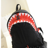 Personality shark mouth shoulder bag student backpack