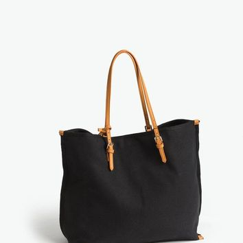 Ana Black Canvas Tote