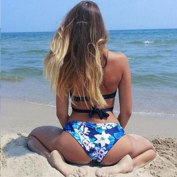 Flower Print Crisscross Halter Beach Bikini Set Swimsuit Swimwear