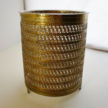 Hollywood Regency trash can open scroll gold metal with clear plastic liner bedroom bathroom trash waste