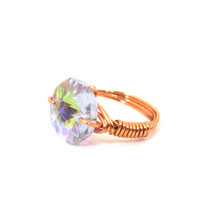 Wire Wrapped Ring Copper with Amethyst Glass Faceted AB Chandelier Bead Size 6 1/2