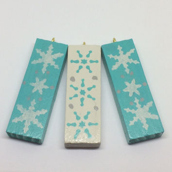 Christmas tree decorations, hanging Christmas ornaments, wooden tree decor, Blue and White snowflakes design, Unique festive decor
