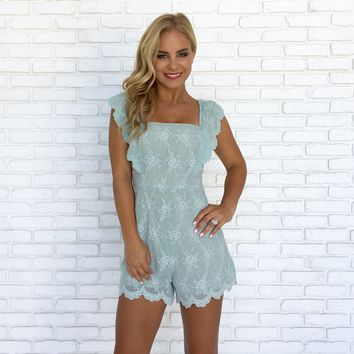 Scallop Eyelet Lace Romper In Mint
