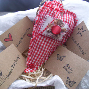 Valentine's Day, Send a Heart,HANDMADE HEART and CARD Primitive Heart, Rustic Heart