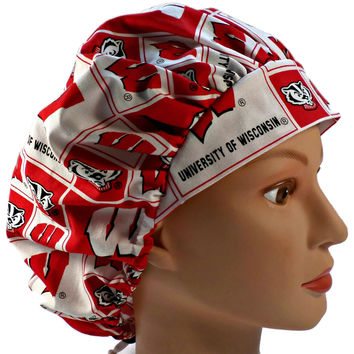 Women's Small Bouffant Surgical Scrub Hat Cap in Wisconsin Badgers Squares
