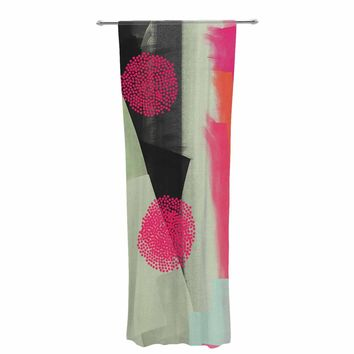 """Rosa Picnic """"Abs-3"""" Pink Teal Abstract Contemporary Painting Watercolor Decorative Sheer Curtain"""