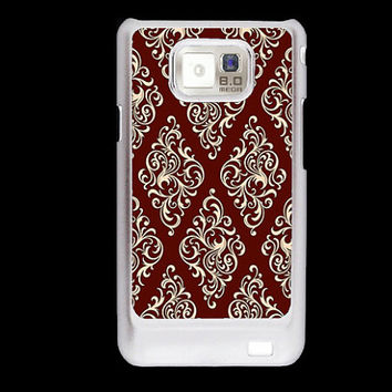 Red white damask pattern Samsung Galaxy S2 case, i9100 cover, Samsung Galaxy SII cover, hard case