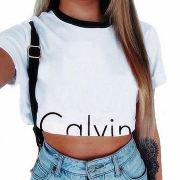 Calvin Klein'fashion Round Neck White Top T Shirt