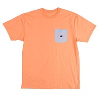 Stewart Seersucker Pocket Tee in Melon Orange w/ Blue by Southern Marsh