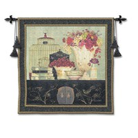 Pure Country Weavers 2735-WH Song Bird Bouquet Woven Wall Tapestry
