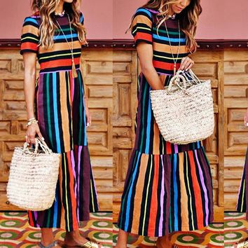 Spring short-sleeved rainbow striped print dress dress long skirt