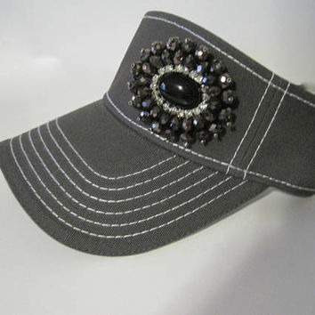 Adorable Grey White Stitched Golf Sun Visor with Gorgeous Beaded Black and Rhinestone Appliqué Golf Hats Accessories