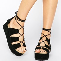 Park Lane Ghillie Lace Suede Flatform Sandals at asos.com