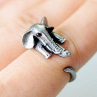 Men Womens Vintage Cool Elephant Ring Silver Adjustable Ring + Gift Box