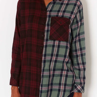 Oversize Contrast Check Shirt