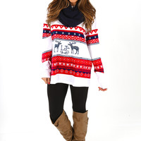 Lauren James: Christmas Sweater Tee: Navy/Red