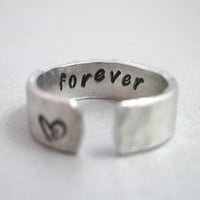 Hammered Secret Message Ring  FOREVER Hand Stamped by emerydrive