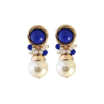Royal Blue Enamel Vintage Dangle Pearl Stud Earrings