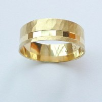 Gold wedding ring  mens wedding band and womens ring hammered sandblast finish and off centered cubes