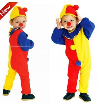 2018 new Children Kids Baby Yellow Red Blue Spliced Romper+Hat+red nose Halloween Carnival Clown Circus party Cosplay Costumes
