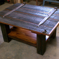 Reclaimed ( Upcycled ) Strap Hinge Dutch Door Coffee Table