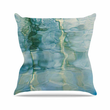 "Malia Shields ""Fluidity Series #2"" Green Teal Outdoor Throw Pillow"