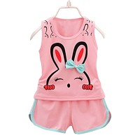 Summer Baby Girls Clothing Sets Kids Girls Sport Suits Top Vest Shorts Clothes Suit for Little Girls Summer Clothing