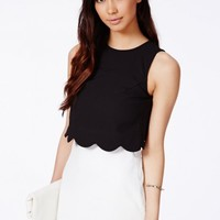 Missguided - Orlina Black Scallop Layered Mini Dress