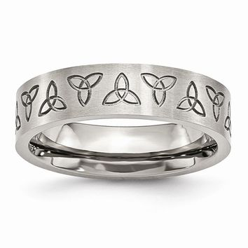 Men's Stainless Steel Engraved Trinity Symbol Brushed Wedding Band Ring